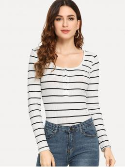 Affordable Long Sleeve Straight Leg Button Polyester Henley Tee