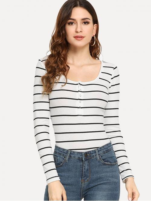 Casual Striped Slim Fit Scoop Neck Long Sleeve Pullovers Black and White Regular Length Striped Henley Tee