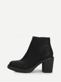 Other Round Toe Plain Side zipper Black High Heel Chunky Perforated Back Block Heeled Ankle Boots