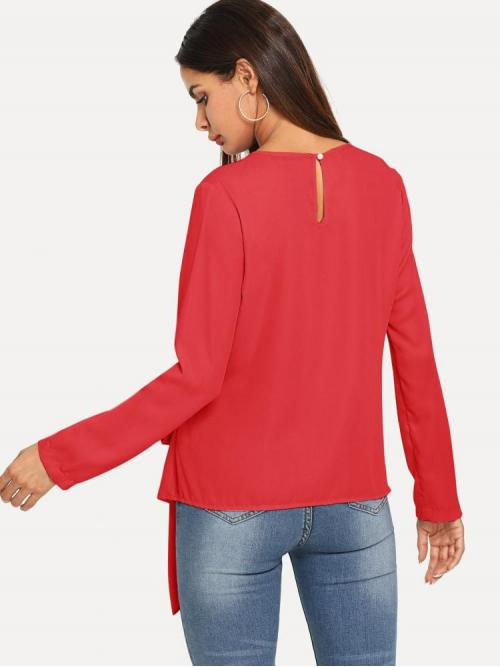 Ladies Long Sleeve Top Knot Polyester Tie Front Asymmetrical Top