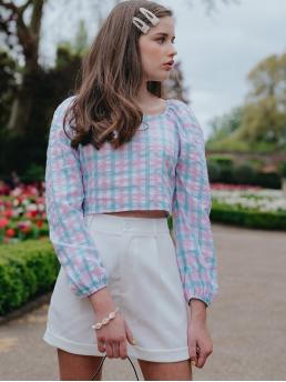 Preppy Plaid Top Regular Fit Square Neck Long Sleeve Bishop Sleeve Pullovers Multicolor Crop Length Pastel Gingham Check Square Neck Blouse