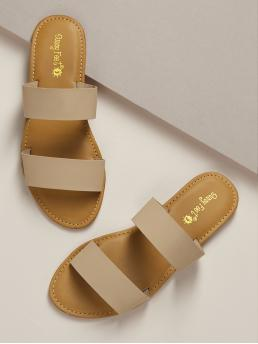 Beautiful Polyester Khaki Slide Sandals Buckle Strappy Double Band Slide Sandals
