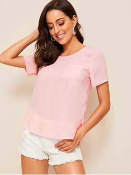 Casual Plain Asymmetrical and Slit Top Regular Fit Round Neck Short Sleeve Regular Sleeve Pullovers Pink and Pastel Regular Length Patch Pocket Dip Hem Solid Top