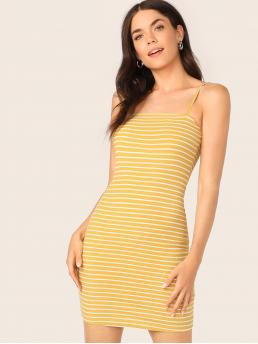 Sexy Cami Striped Slim Fit Spaghetti Strap Sleeveless Natural Yellow Short Length Striped Fitted Cami Dress
