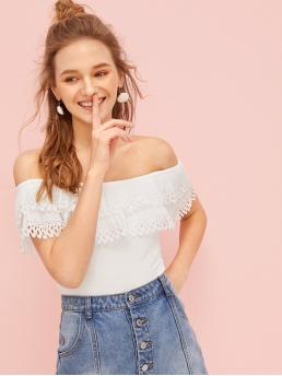 Casual Plain Top Slim Fit Off the Shoulder Short Sleeve Pullovers White Crop Length Off-shoulder Ruffle Cut Out Blouse