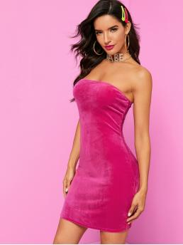 Glamorous and Sexy Bodycon Plain Pencil Slim Fit Strapless Sleeveless Natural Pink and Bright Short Length Velvet Tube Bodycon Dress