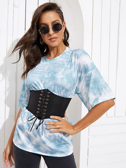 Beautiful Half Sleeve Polyester Tie Dye Blue Crew Neck Tee Without Corset