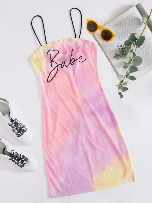 Casual Bodycon Letter and Tie Dye Pencil Slim Fit Spaghetti Strap Sleeveless Natural Multicolor Short Length Letter Graphic Tie Dye Dress