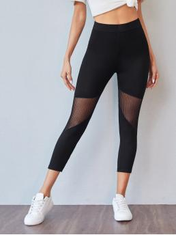 Black Sheer Regular Plain Mesh Insert Leggings Affordable