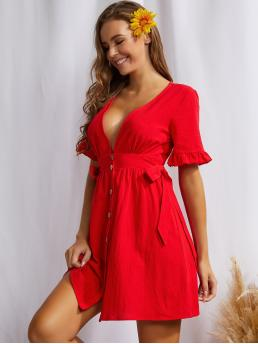Fashion Red Plain Button Front Deep V Neck Plunging Bell Sleeveted Dress