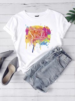 Short Sleeve Cotton Slogan White Paint Drip and Tee on Sale