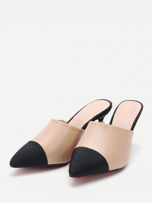 Velvet Multicolor Mules Button Apricot Contrast Point Toe Pu Heeled Slippers Ladies