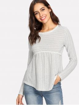 Casual Striped Regular Fit Long Sleeve Grey Dot Crochet Trim Curved Dip Hem Top