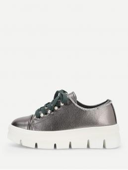 Round Toe Flatform Silver Faux Pearl Detail Lace-Up Chunky Sneakers