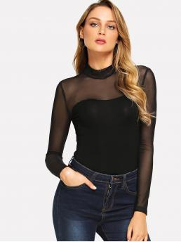Affordable Long Sleeve Cami Contrast Mesh Modal Mock Neck Mesh Yoke Fitted Bodysuit