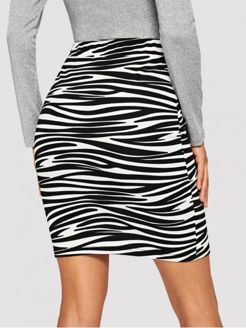 Womens Black and White Natural Waist Belted Bodycon Animal Print