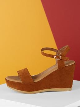 Plain Flatform Ankle Strap Brown High Heel Ankle Buckle Strap Platform Open Toe Wedge Sandals