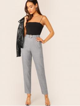 Preppy Plaid Tapered/Carrot Regular Zipper Fly High Waist Grey Long Length Buckle Belted Zip Front Glen Pants with Belt