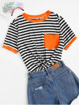 Casual Striped Regular Fit Round Neck Short Sleeve Pullovers Multicolor Regular Length Neon Orange Patch Pocket Striped Ringer Tee