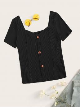 Casual Plain Slim Fit Sweetheart Short Sleeve Pullovers Black Regular Length Sweetheart Neck Button Rib-knit Tee