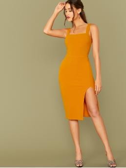 Sexy Bodycon Plain Slit Slim Fit Straps Sleeveless High Waist Yellow and Bright Midi Length Thick Strap Slit Hem Fitted Dress Without Belt