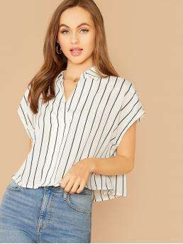 Casual Striped Top Regular Fit Collar and V neck Short Sleeve Batwing Sleeve Pullovers White Regular Length Collared V-neck Striped Top