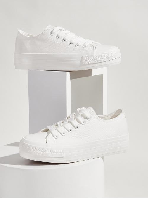Comfort Round Toe Plain White Plain Lace-up Front Low Top Sneakers
