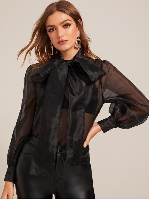 Glamorous and Sexy Top Plain Regular Fit Stand Collar and Tie Neck Long Sleeve Pullovers Black Regular Length Tie Neck Bishop Sleeve Sheer Organza Blouse Without Bra