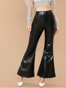 Glamorous Plain Flare Leg Regular Button Fly and Zipper Fly Mid Waist Black Long Length Flare Leg Faux Patent Pants