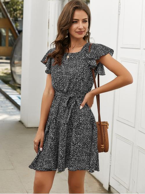 Clearance Black and White all over Print Belted Round Neck Dress