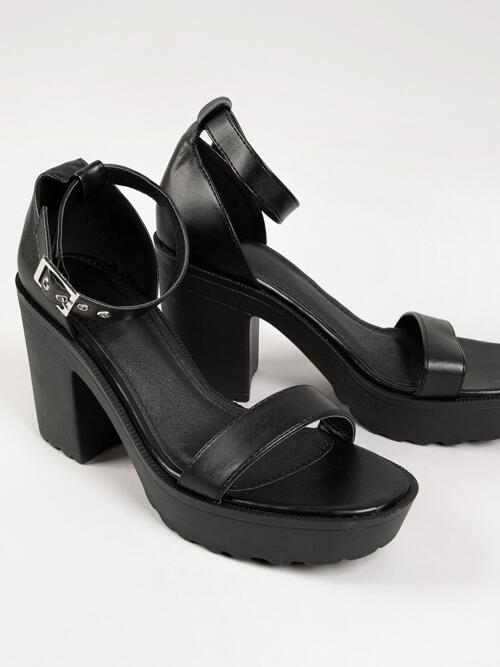 Affordable Black Strappy Sandals Buckle High Heel Faux Leather Open-toe High Block Heels