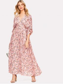 Boho A Line Floral Regular Fit Deep V Neck Three Quarter Length Sleeve Kimono Sleeve High Waist Pink Maxi Length Gathered Sleeve Wide Waistband Ditsy Floral Kimono Dress