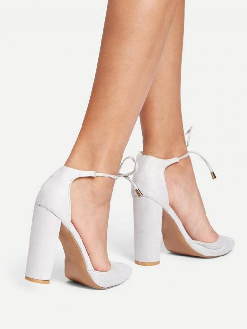 Ladies Corduroy White Mules Glitter Lace-up Heels