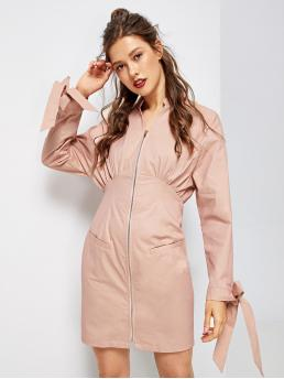 Dusty Pink Plain Zipper Stand Collar Zip up Tied Cuff Solid Dress Shopping