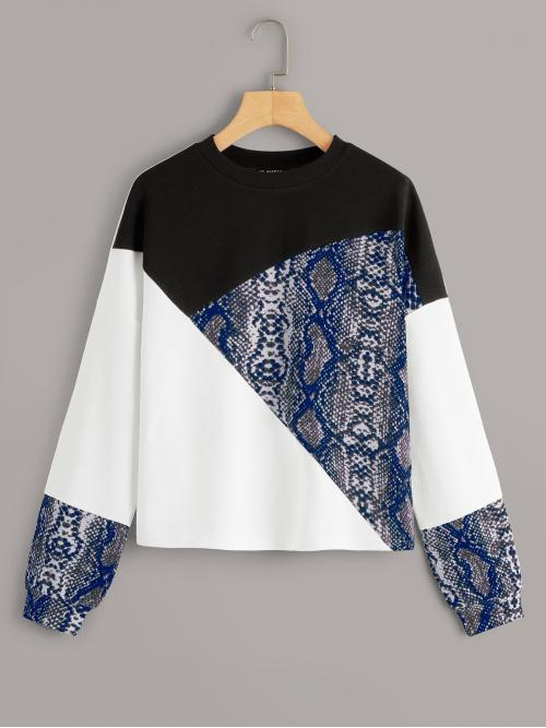 Casual Pullovers Colorblock and Snakeskin Print Regular Fit Round Neck Long Sleeve Multicolor Regular Length Snakeskin Print Colorblock Sweatshirt