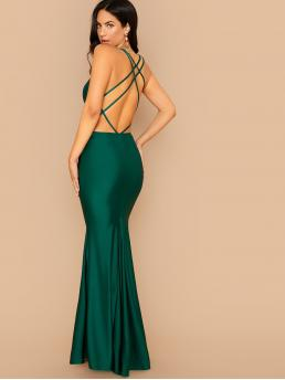 Glamorous and Sexy Bodycon Plain Mermaid Slim Fit Spaghetti Strap Sleeveless Natural Green Maxi Length Plunging Neck Crisscross Open Back Fishtail Hem Dress with Lining