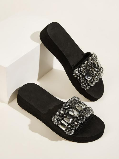 Glamorous Black Open Toe Jewelled Decor Sliders