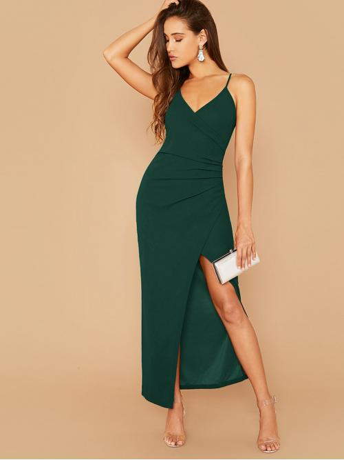 Glamorous and Sexy Cami Plain Asymmetrical Slim Fit Spaghetti Strap Sleeveless Natural Green Maxi Length Solid Ruched Overlap Asymmetrical Hem Cami Dress