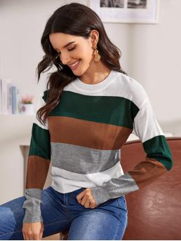 Casual Striped and Colorblock Pullovers Regular Fit Round Neck Long Sleeve Regular Sleeve Pullovers Multicolor Regular Length Striped Color-block Jumper