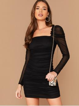 Glamorous Bodycon Plain Pencil Slim Fit Square Neck Long Sleeve Leg-of-mutton Sleeve Natural Black Short Length Frill Trim Gigot Sleeve Ruched Mesh Overlay Dress with Lining