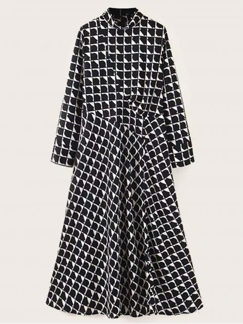 Casual A Line Plaid Flared Regular Fit Stand Collar Long Sleeve Regular Sleeve Natural Black and White Long Length Plaid Flare Hem Dress