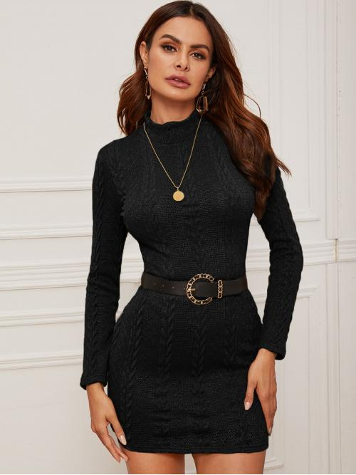 Elegant Bodycon Plain Pencil Slim Fit Stand Collar Long Sleeve Regular Sleeve Natural Black Short Length Mock-neck Cable Knit Bodycon Dress Without Belt