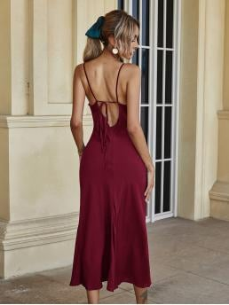 Affordable Maroon Plain Tie Back Cowl Neck Dress