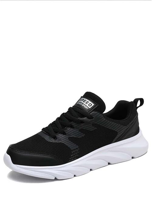 Shopping Black Mesh Md Mesh Panel Lace-up Running Shoes
