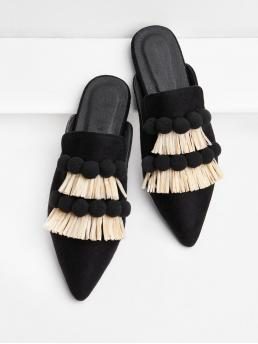 Casual and Cute Point Toe Tassel Black Pom Pom & Fringe Decorated Flats