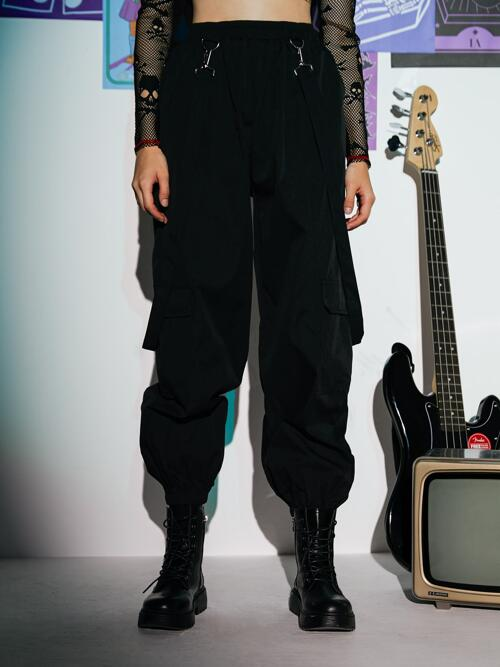 Cheap Black Natural Waist Tape Cargo Pants Romwe Solid Joggers