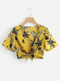 Boho Tropical and Fruit&Vegetable Slim Fit Deep V Neck Short Sleeve Yellow Crop Length Pineapple Print Knot Front Crop Top