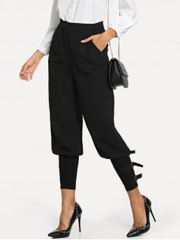 Casual Plain Tapered/Carrot Regular Button Fly and Zipper Fly High Waist Black Long Length Slant Pocket Adjustable Strap Detail Pants