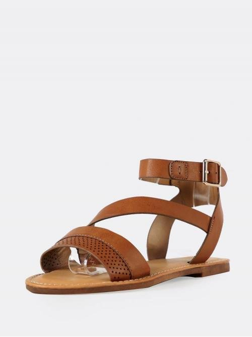 Corduroy Rust Brown Thong Sandals Cut out Perforated Band Sandals Beautiful