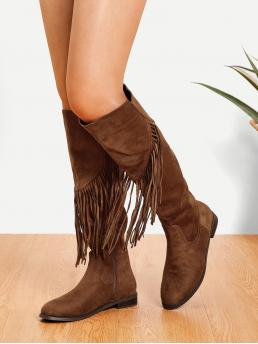 Mohair Camel a Line Tassel Detail Knee High Boots Sale